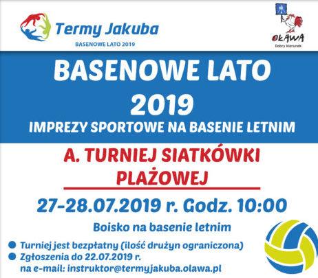 plakat imprez sportowych na basenie letnim 2019