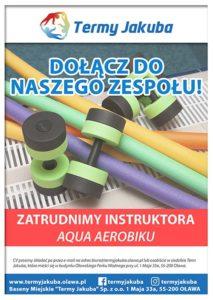 plakat: zatrudnimy instruktora aqua aerobiku