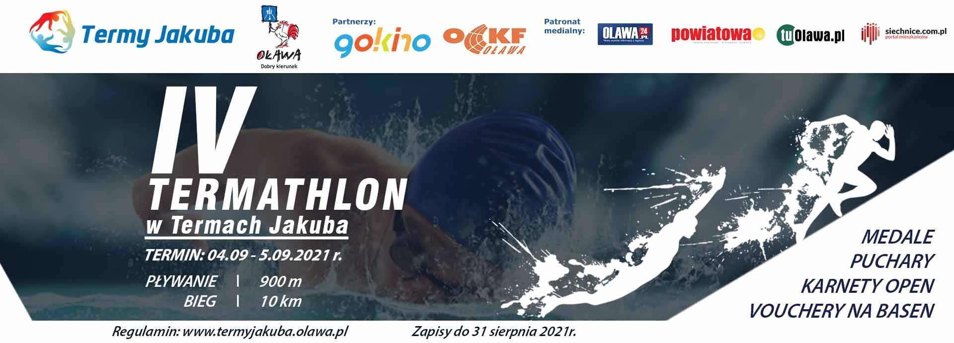baner imprezy sportowej. 4 edycja termathlonu w termach jakuba w oławie. 4-5.09.2021